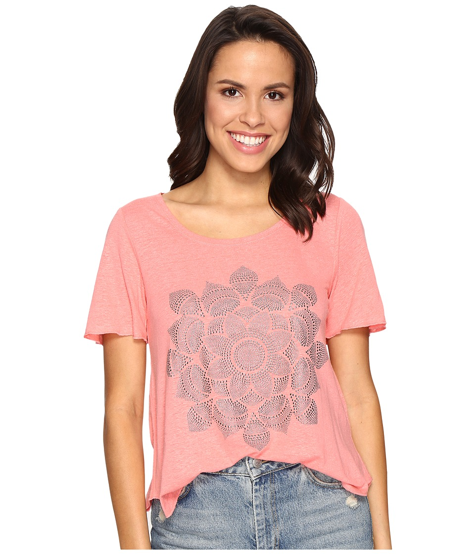 Lucky Brand - Studded Lotus Tee (Shell Pink) Women's T Shirt
