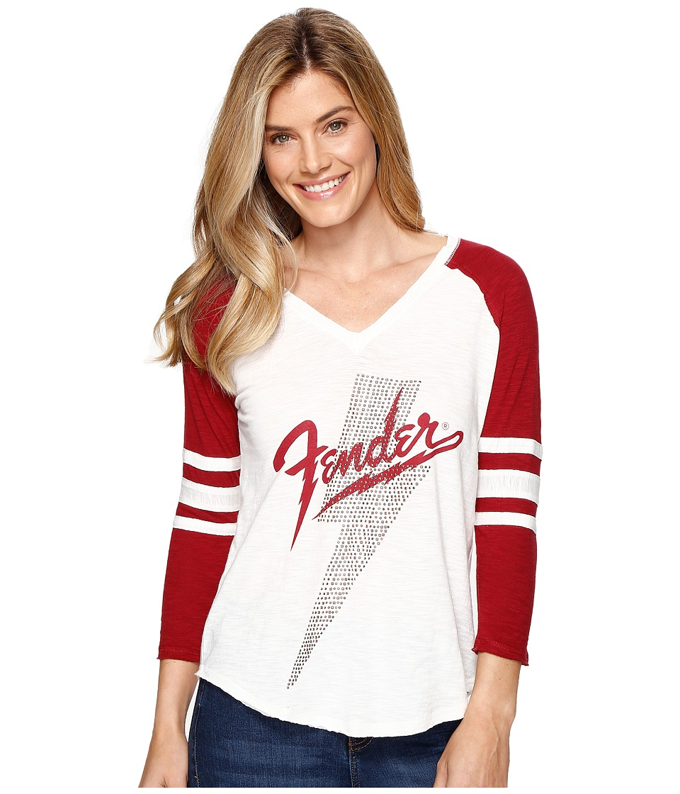 Lucky Brand - Fender Studded Tee (Mashmallow/Burgundy) Women's T Shirt