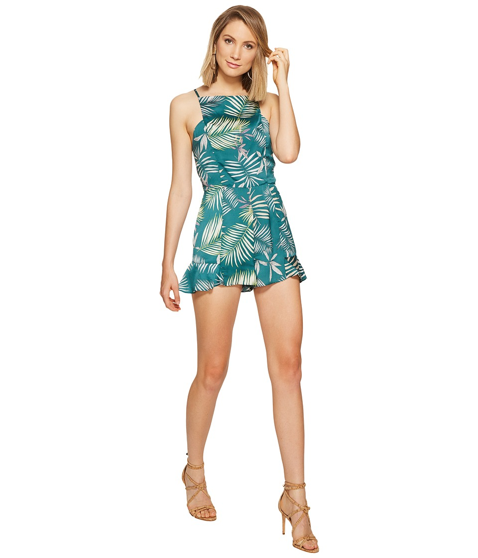 BB Dakota - Wilder Palm Printed Romper (Cool Green) Women's Jumpsuit & Rompers One Piece