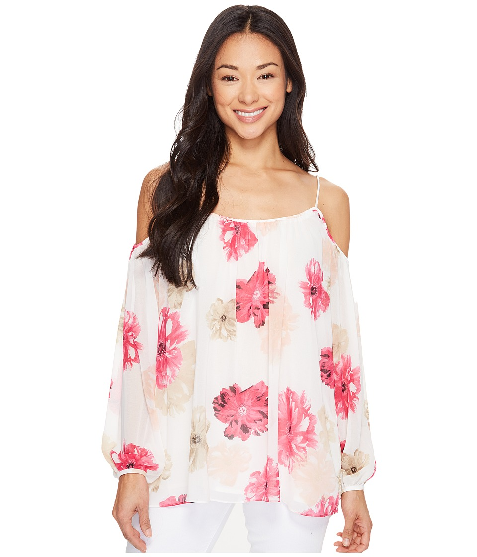 Calvin Klein - Printed Long Sleeve Off Shoulder Blouse (Rose Combo) Women's Blouse