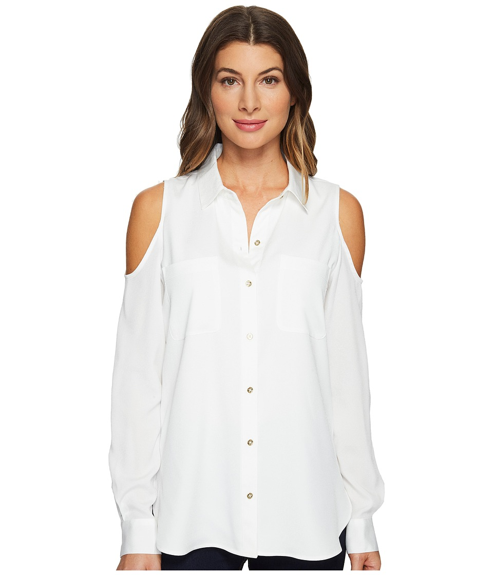Calvin Klein - Long Sleeve Cold Shoulder Button Down Blouse (Soft White) Women's Blouse