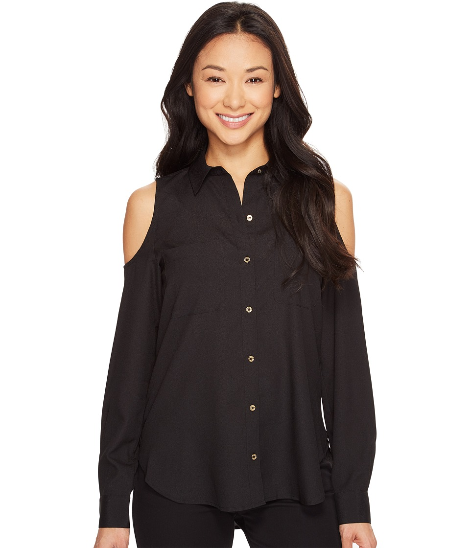 Calvin Klein - Long Sleeve Cold Shoulder Button Down Blouse (Black) Women's Blouse