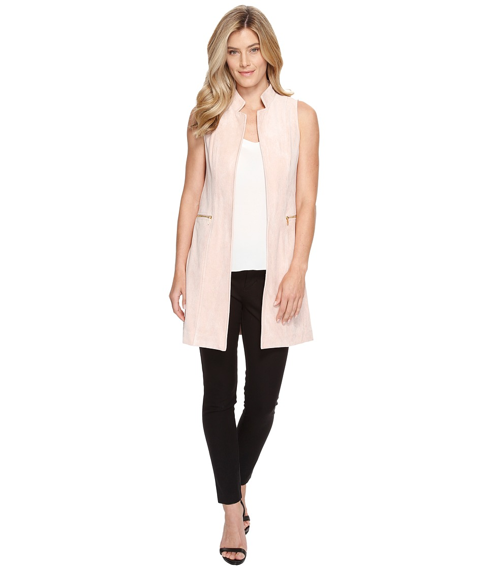Calvin Klein - Suede Vest with Zips (Blush) Women's Vest