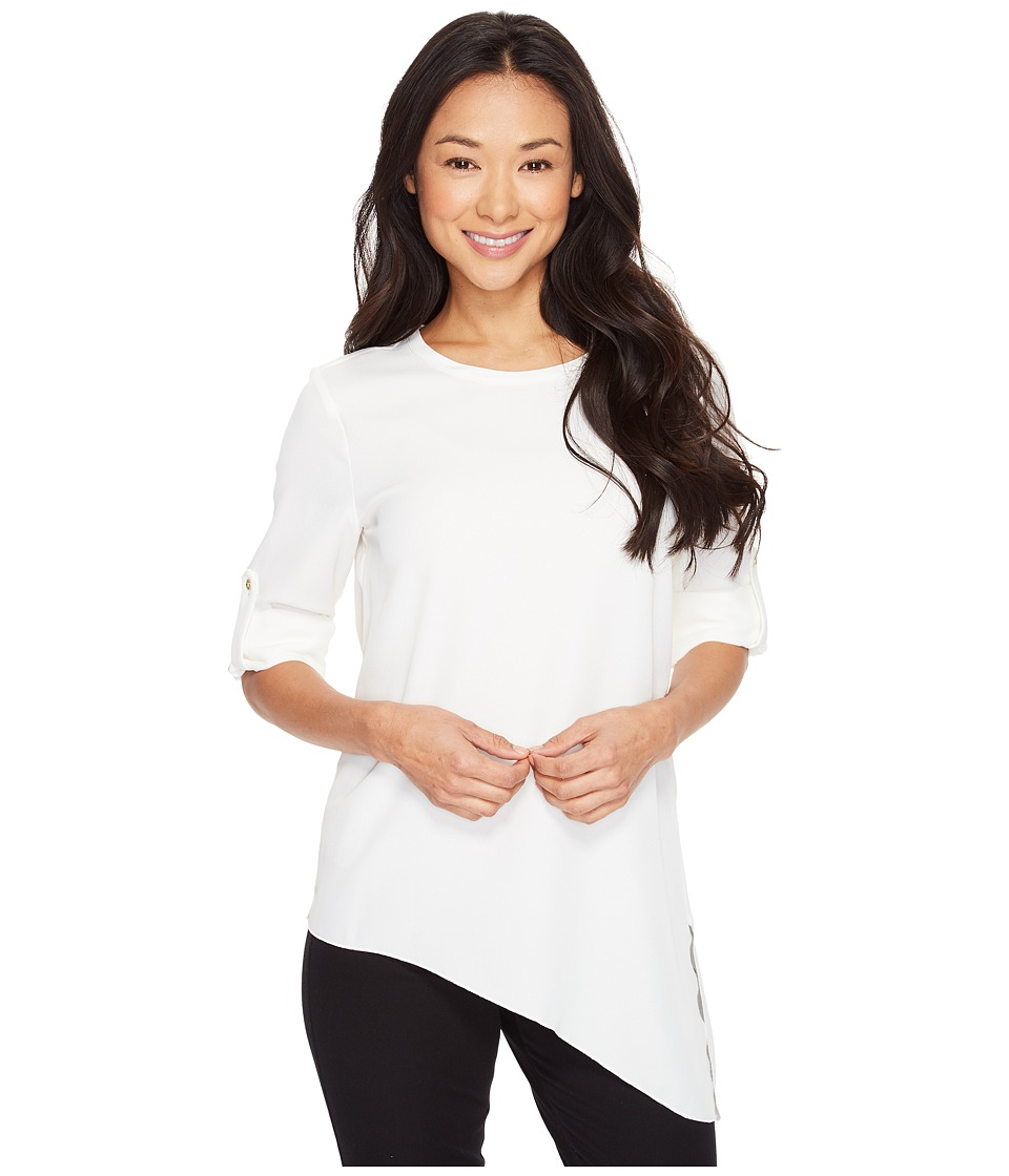 Calvin Klein - Roll Sleeve with Angle Bottom Blouse (Soft White) Women's Blouse