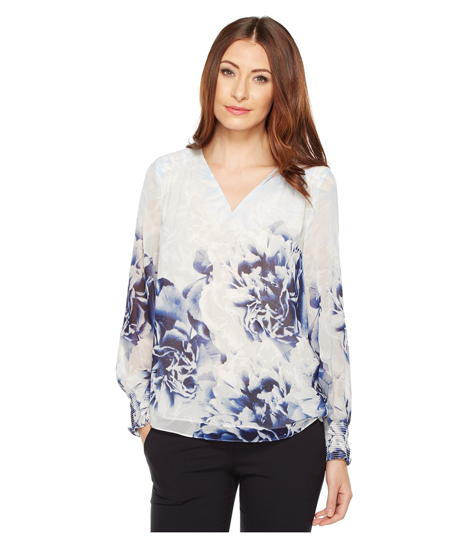 Calvin Klein - Long Sleeve Printed Peasant Blouse (Twilight/Light Grey) Women's Blouse