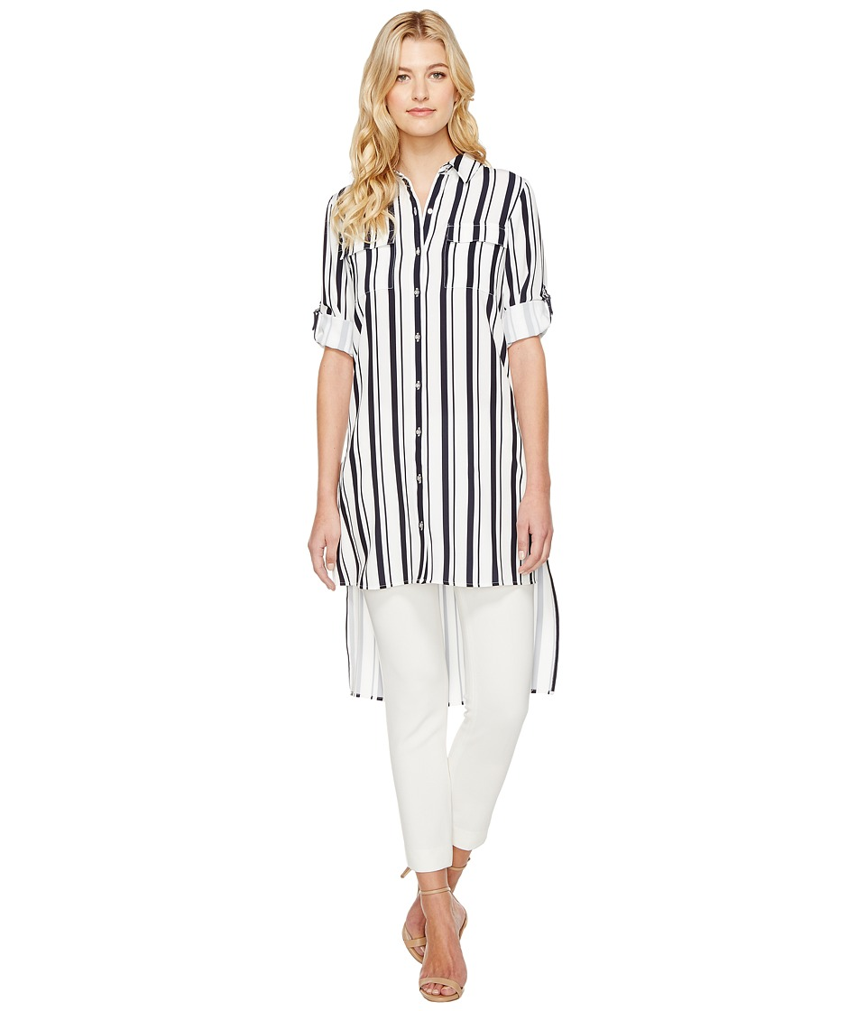 Calvin Klein - Stripe Roll Sleeve Tunic (Twilight/Cream) Women's Blouse