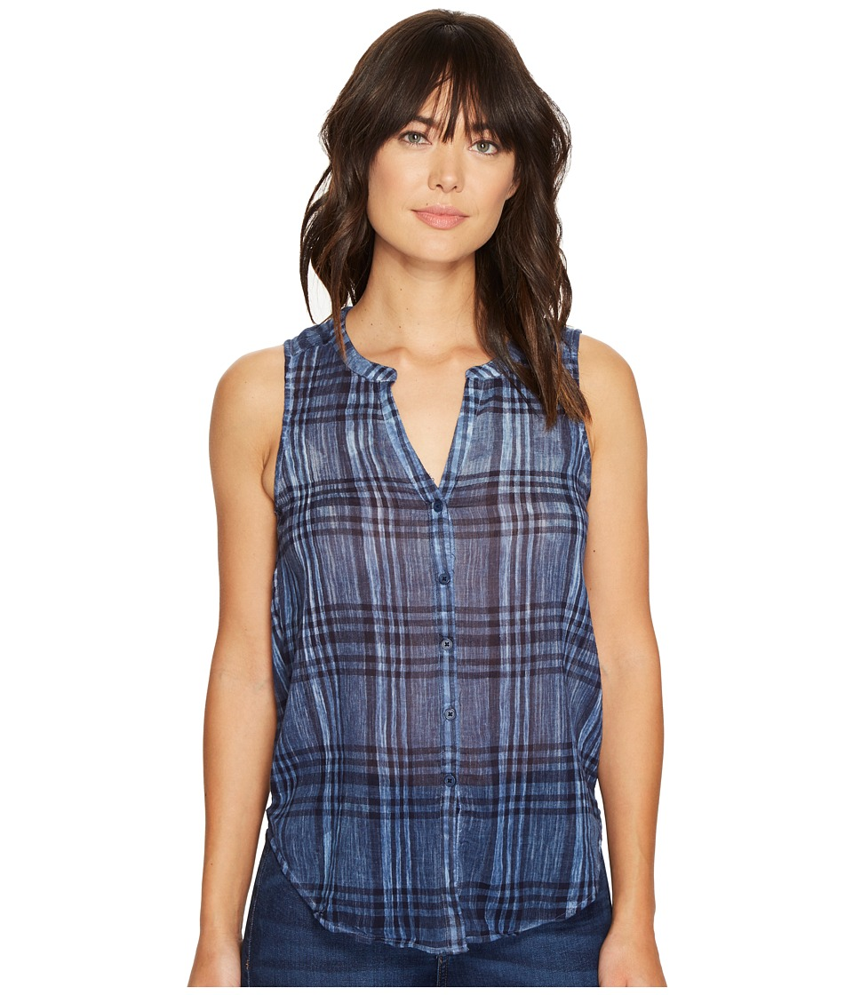 Lucky Brand - Blue Yarn-Dye Shirt (Blue Multi) Women's Sleeveless
