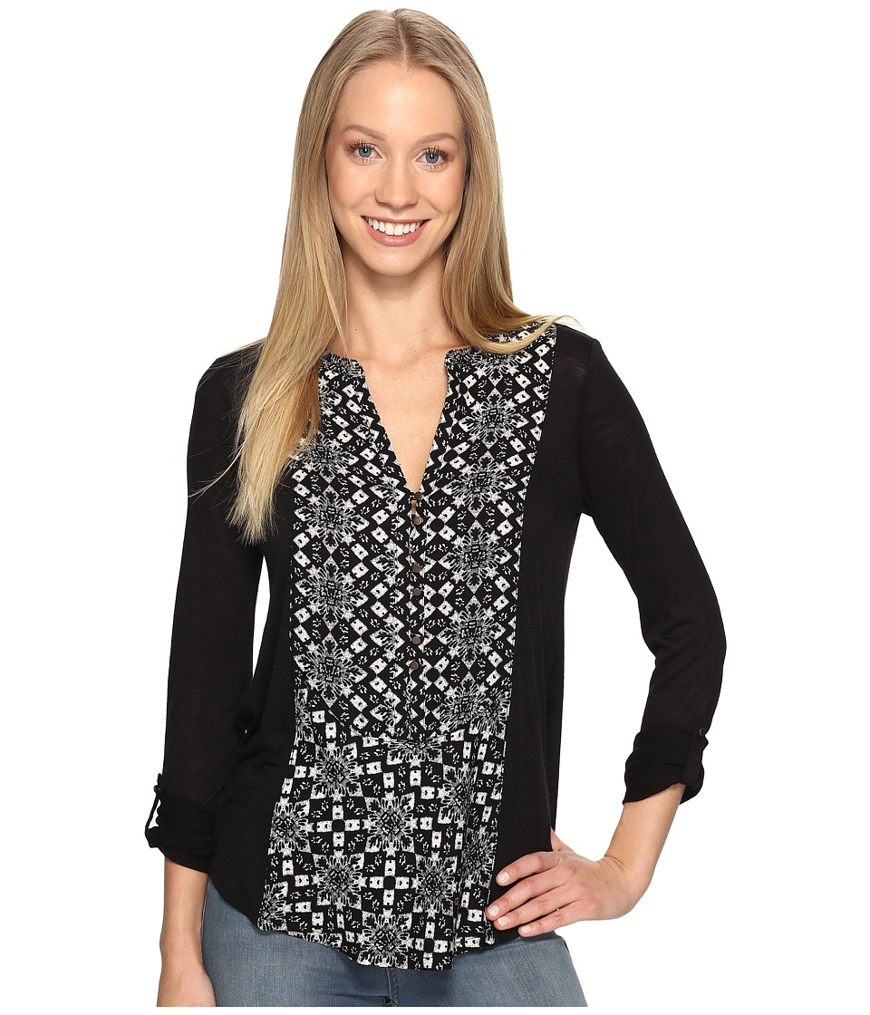 Lucky Brand - Printed Woven Mix Henley (Black Multi) Women's Clothing