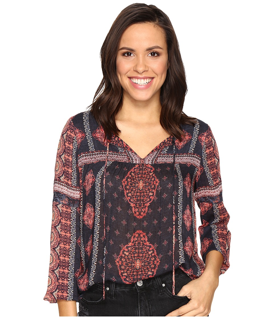 Lucky Brand - Border Print Peasant Top (Orange Multi) Women's Clothing