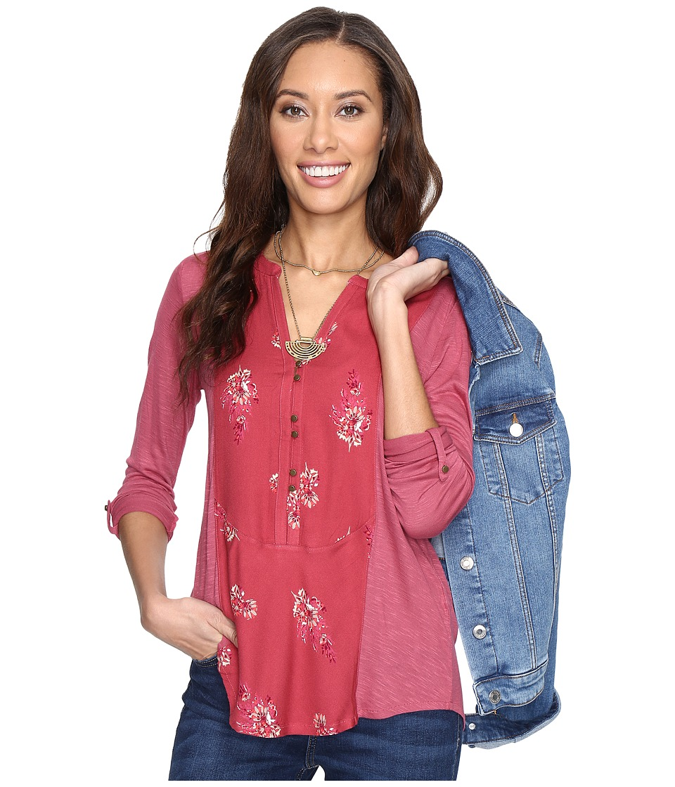 Lucky Brand - Printed Woven Mix Henley (Red Multi) Women's Clothing