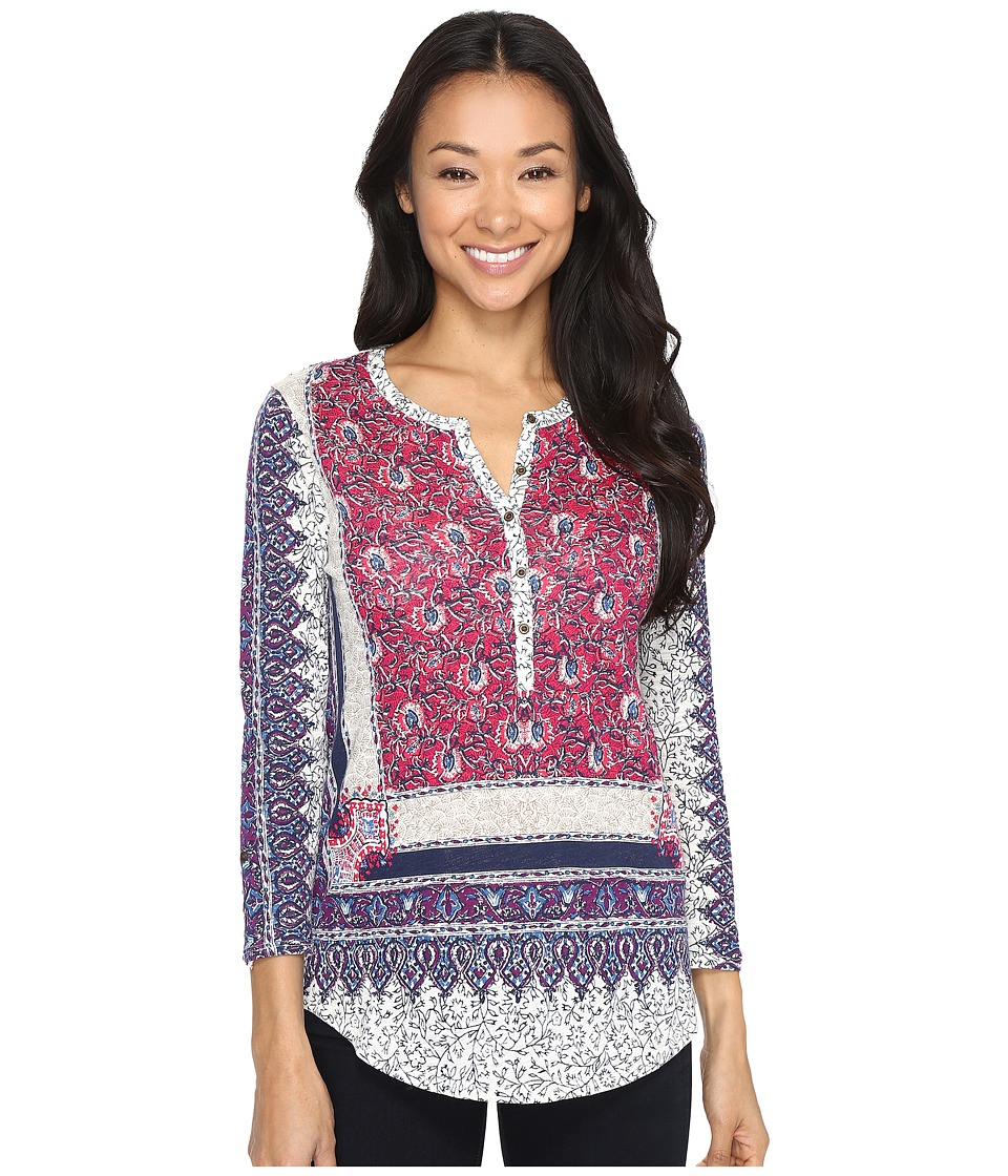 Lucky Brand - Border Floral Henley (Pink Multi) Women's Clothing