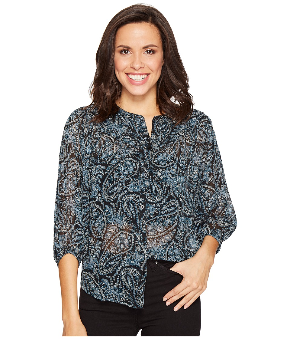 Lucky Brand - Black Paisley Peasant Top (Black Multi) Women's Clothing