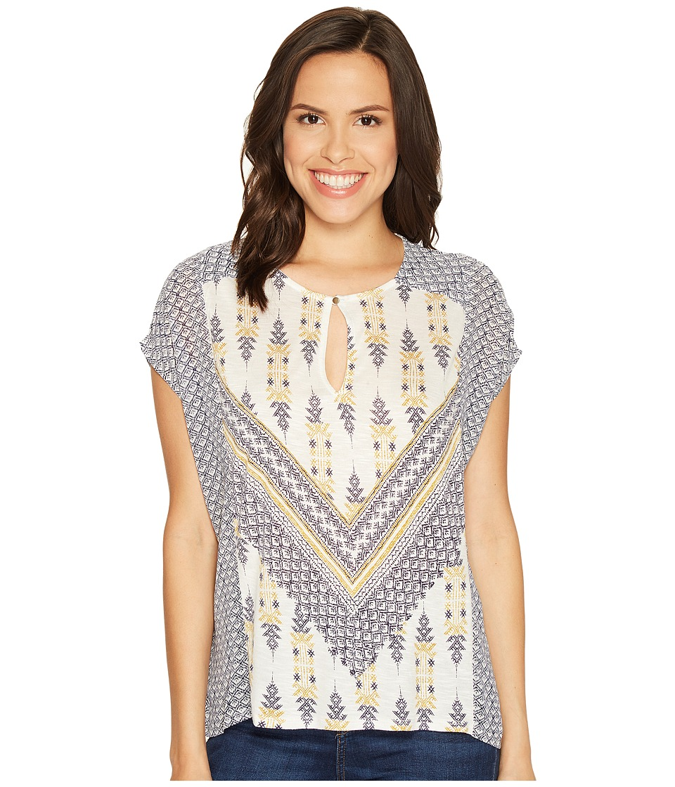 Lucky Brand - Printed Mixed Blouse (Natural Multi) Women's Blouse