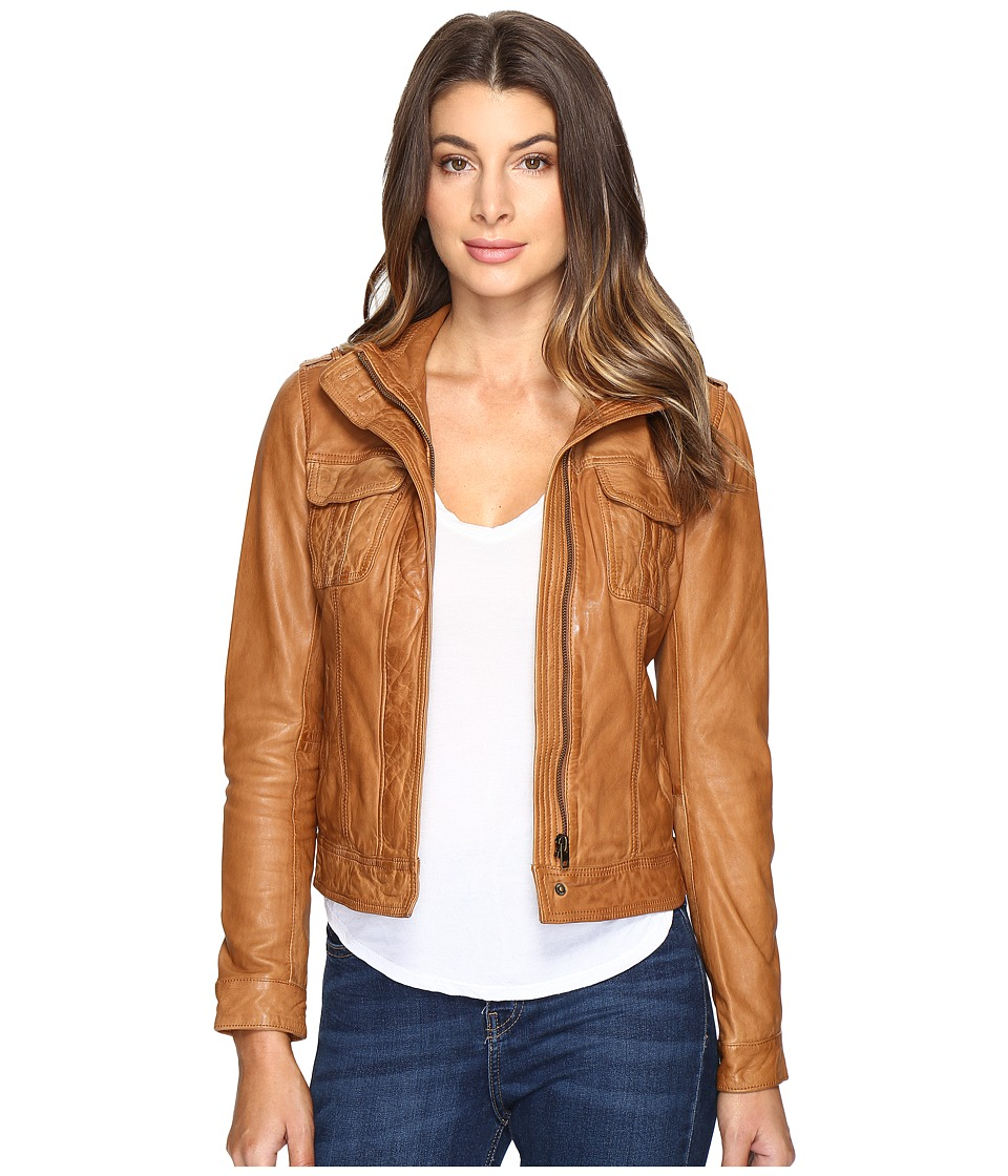 Lucky Brand - Patch Pocket Leather Jacket (Camel) Women's Coat