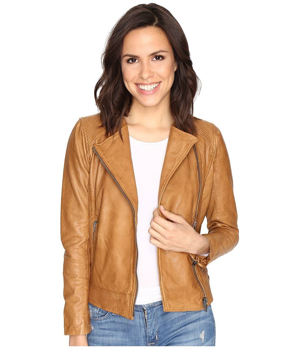 Lucky Brand - Collarless Leather Jacket (Camel) Women's Coat