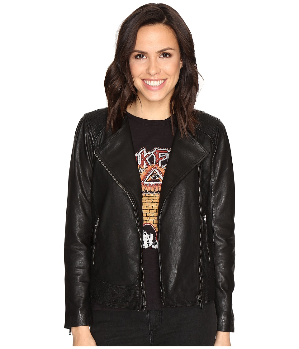 Lucky Brand - Collarless Leather Jacket (Lucky Black) Women's Coat