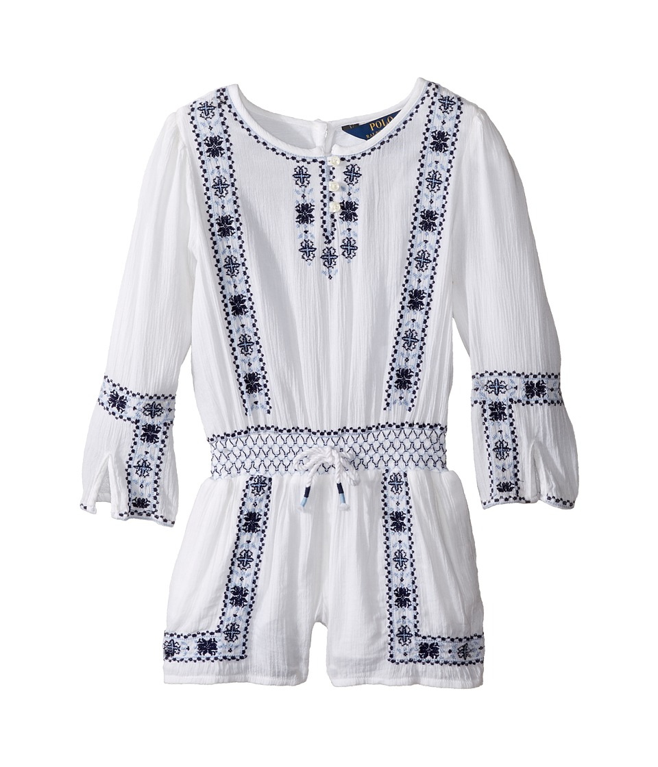 Polo Ralph Lauren Kids - Embroidered Romper (Toddler) (Pure White) Girl's Jumpsuit & Rompers One Piece