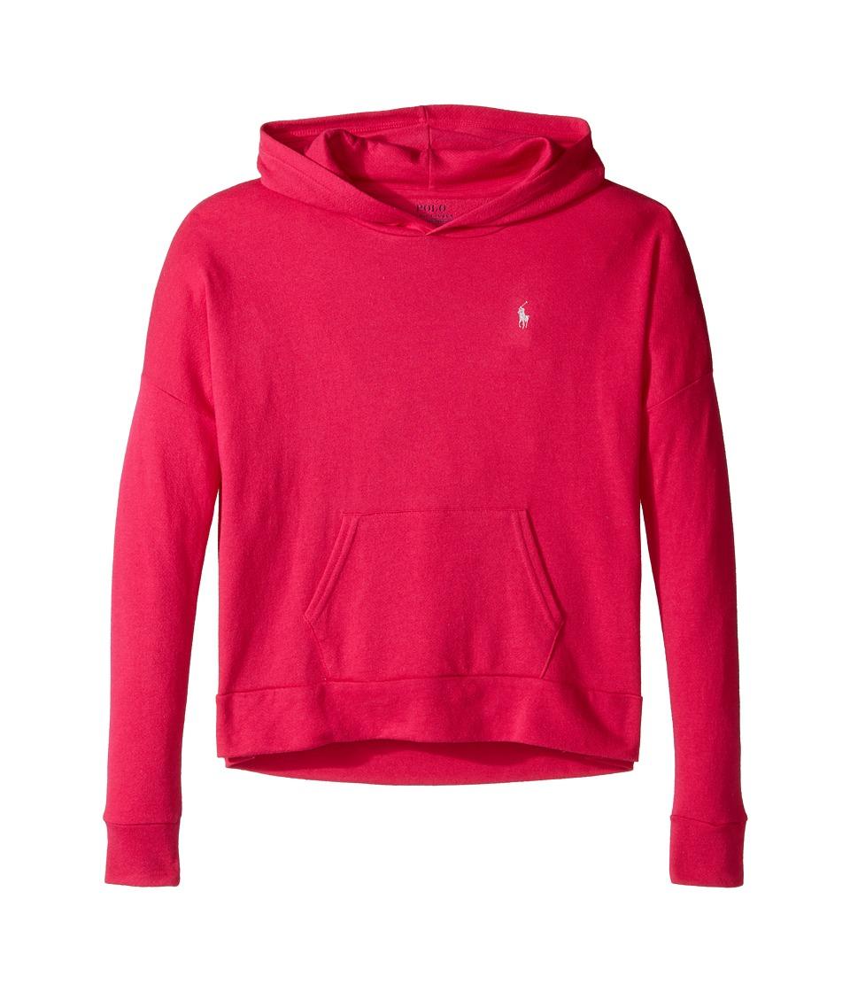 Polo Ralph Lauren Kids - Cotton Modal Hoodie (Little Kids/Big Kids) (Hibiscus Pink) Girl's Sweatshirt