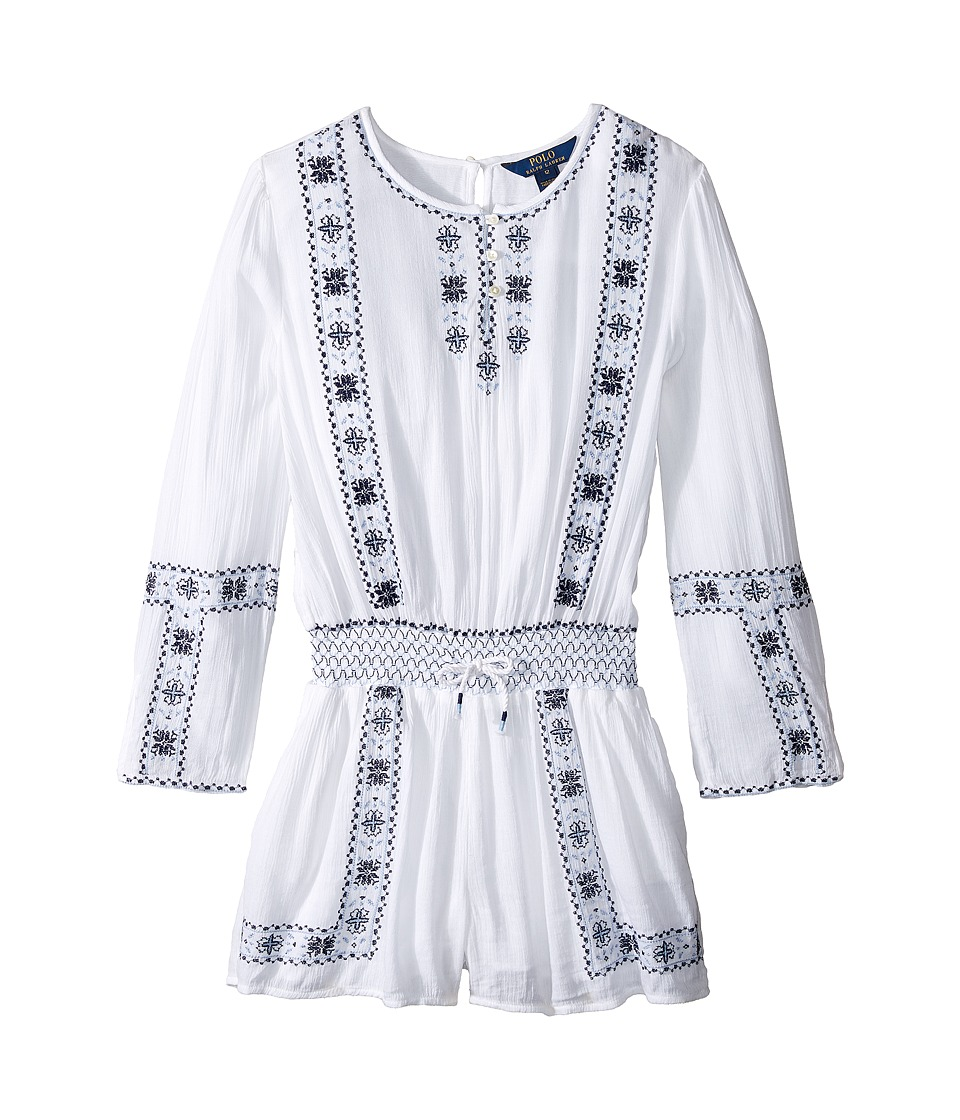 Polo Ralph Lauren Kids - Embroidered Romper (Little Kids/Big Kids) (Pure White) Girl's Jumpsuit & Rompers One Piece