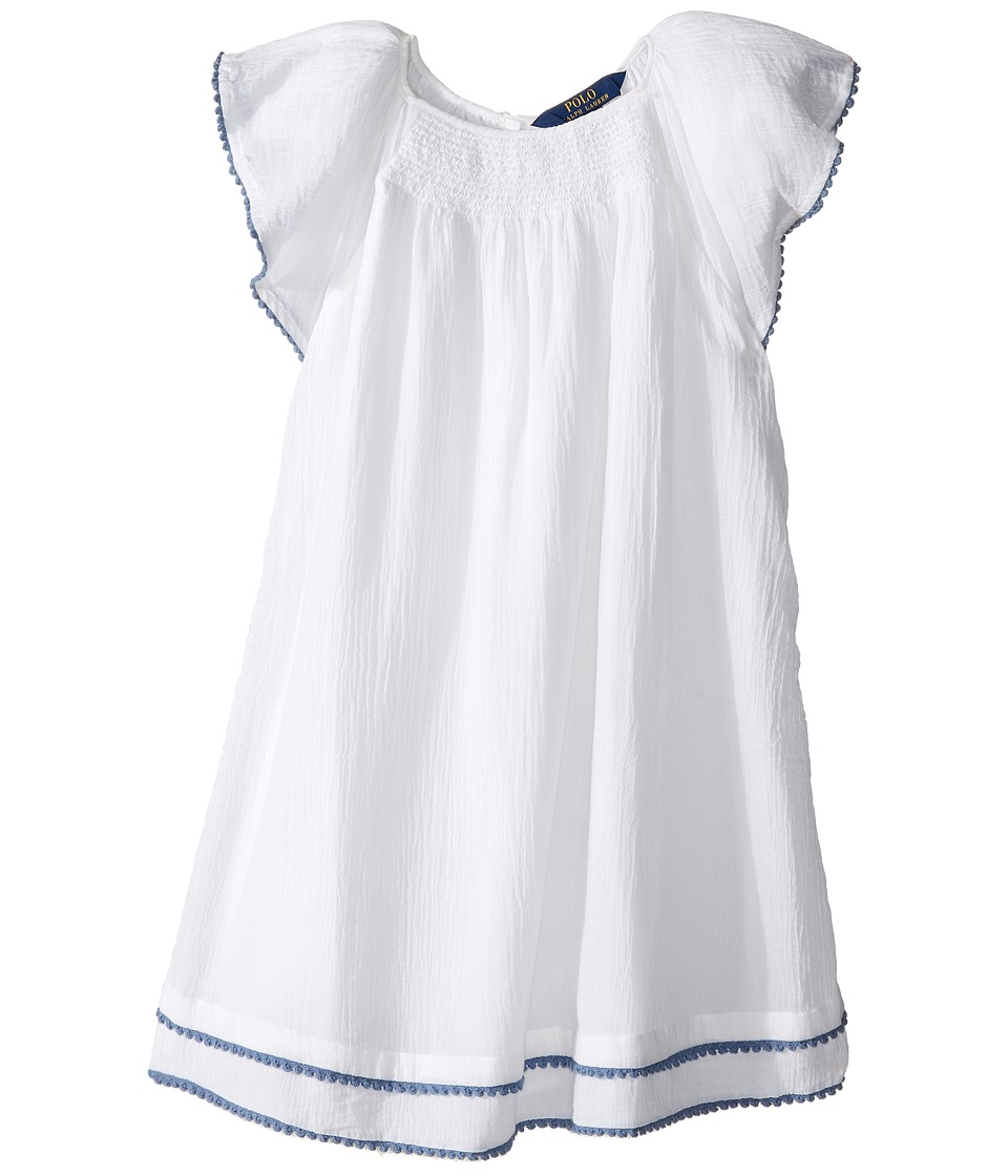 Polo Ralph Lauren Kids - Smocked Cotton Dress (Little Kids) (Pure White) Girl's Dress
