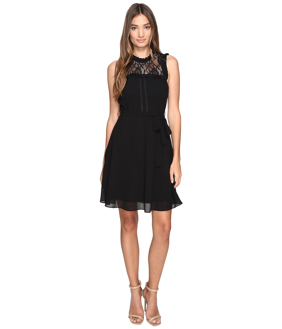 ROMEO & JULIET COUTURE - Sleeveless Lace Yoke Dress (Black) Women's Dress