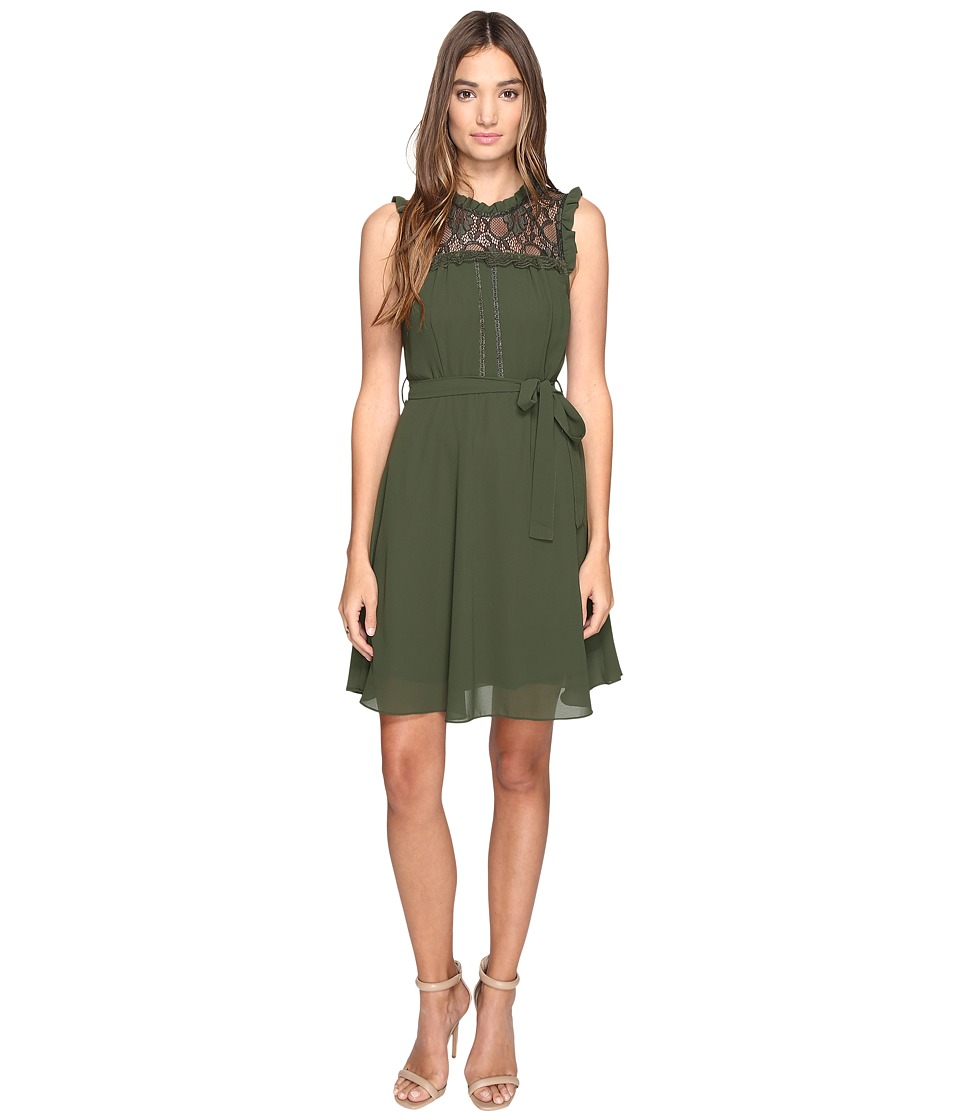 ROMEO & JULIET COUTURE - Sleeveless Lace Yoke Dress (Olive) Women's Dress
