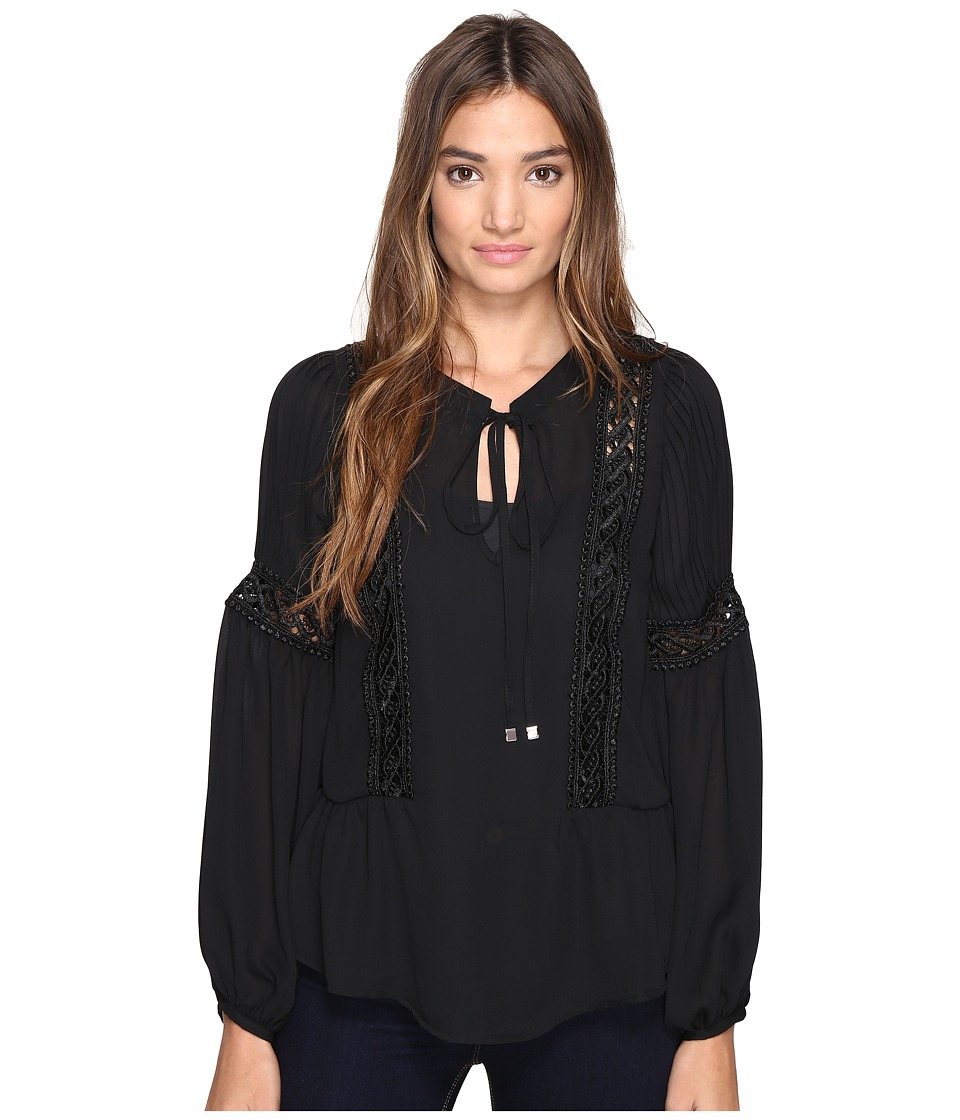 ROMEO & JULIET COUTURE - Long Sleeve Lace-Up Detailed Top (Black) Women's Clothing