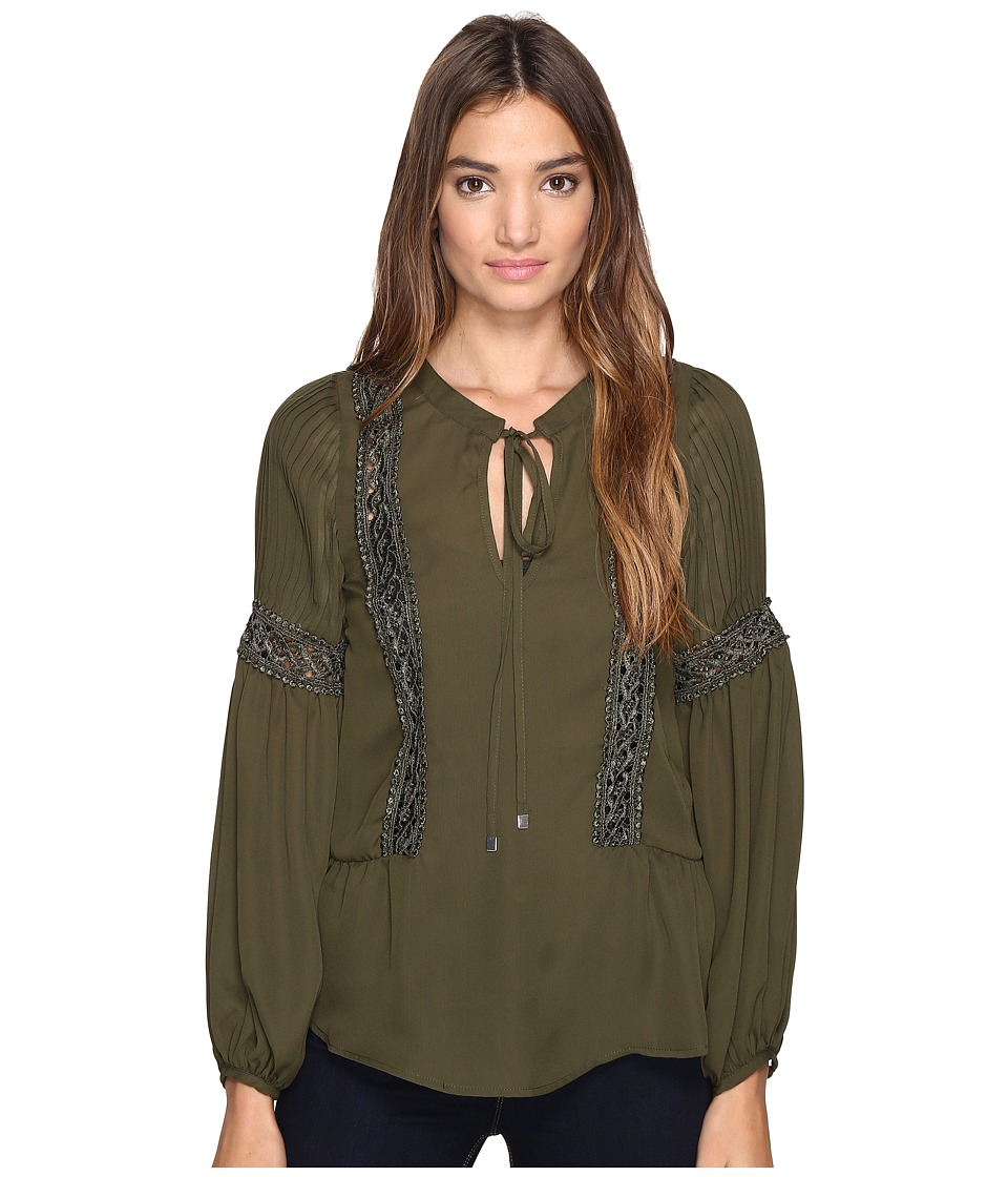 ROMEO & JULIET COUTURE - Long Sleeve Lace-Up Detailed Top (Olive) Women's Clothing