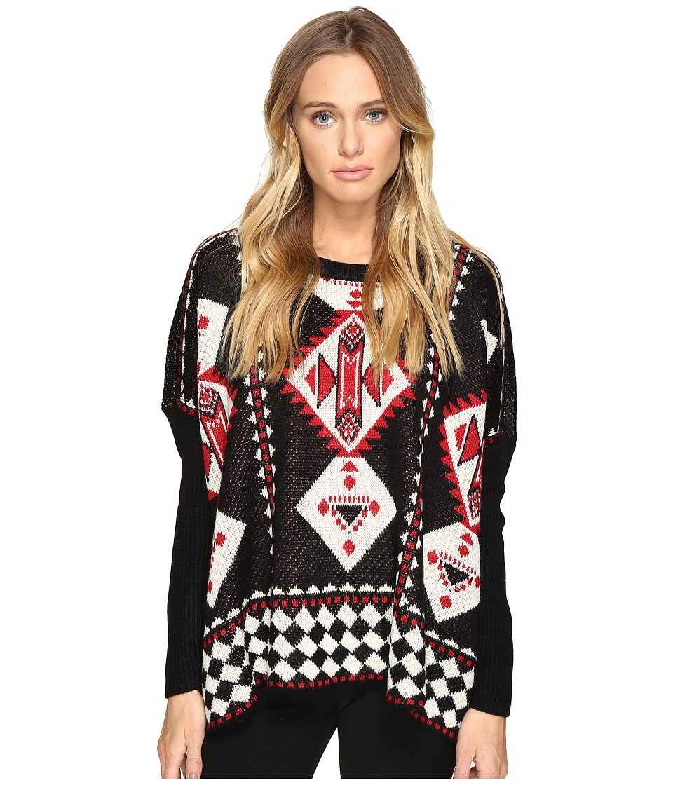 ROMEO & JULIET COUTURE - Geometric Print Knit Sweater (Black) Women's Sweater