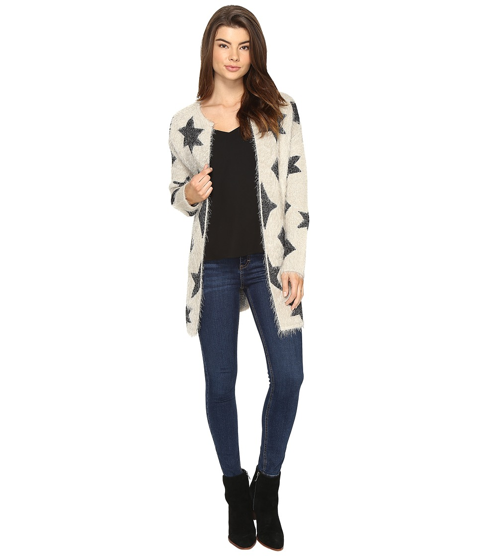 ROMEO & JULIET COUTURE - Star and Triangle Fuzzy Yarn Cardigan (Ivory/Black) Women's Sweater