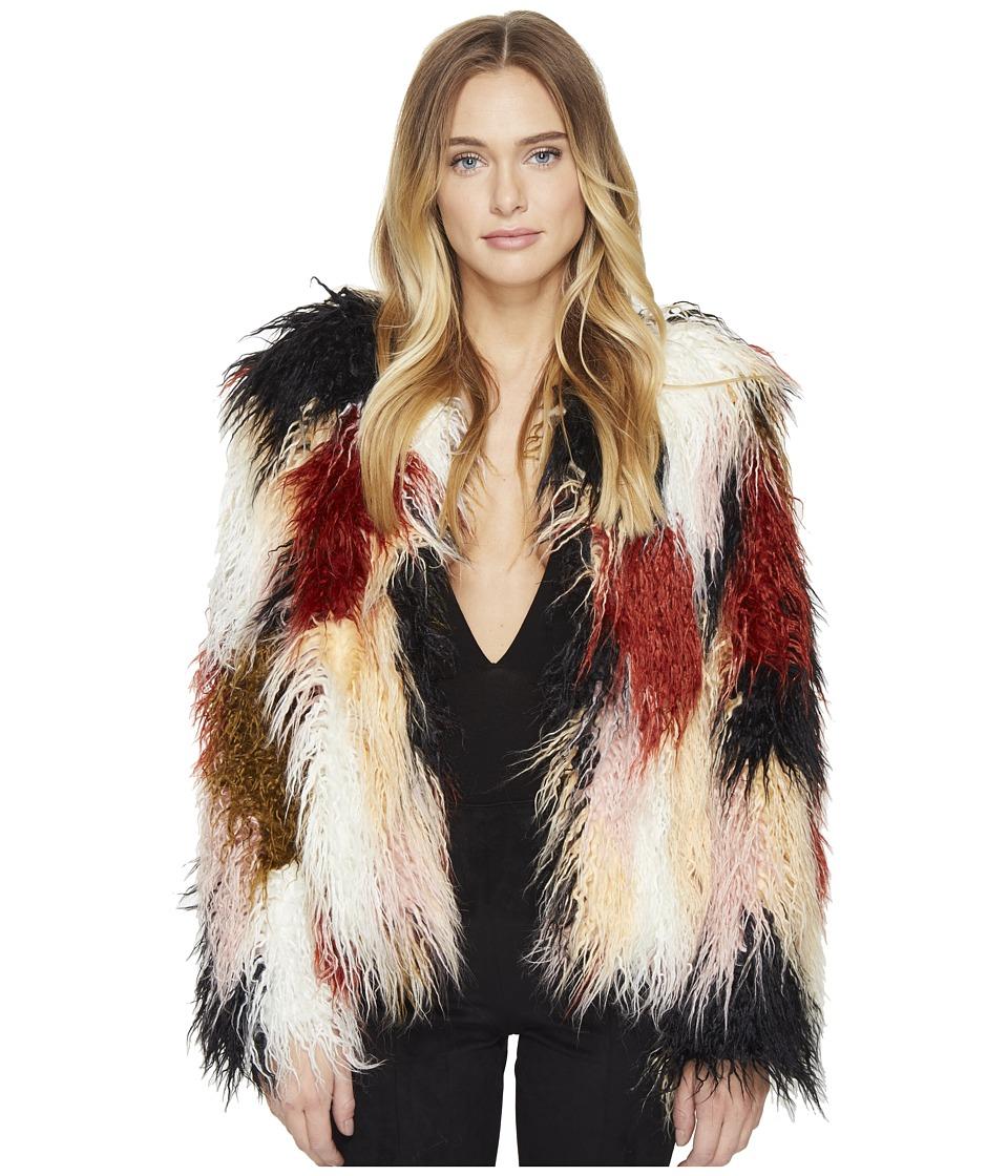 ROMEO & JULIET COUTURE - Colorful Faux Fur Jacket (Multi) Women's Coat