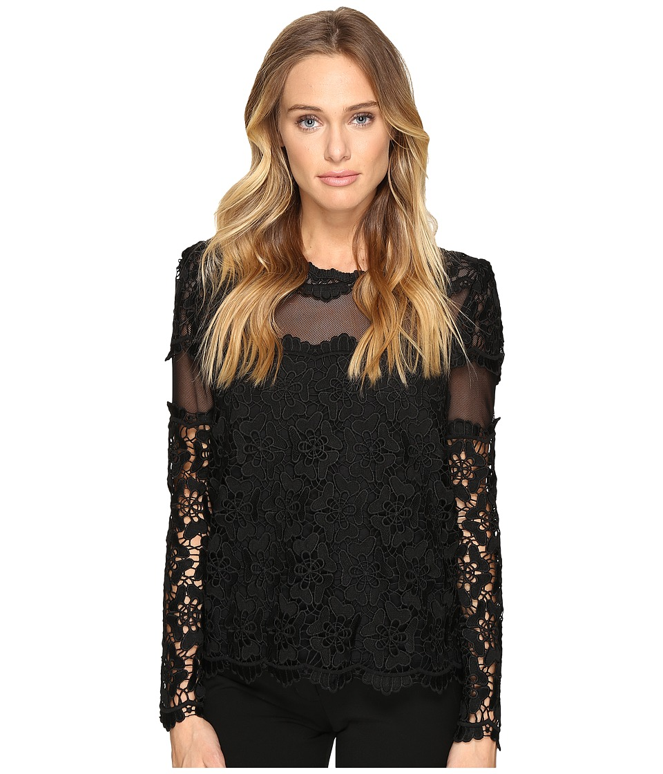 ROMEO & JULIET COUTURE - Long Sleeve Lace Top (Black) Women's Clothing