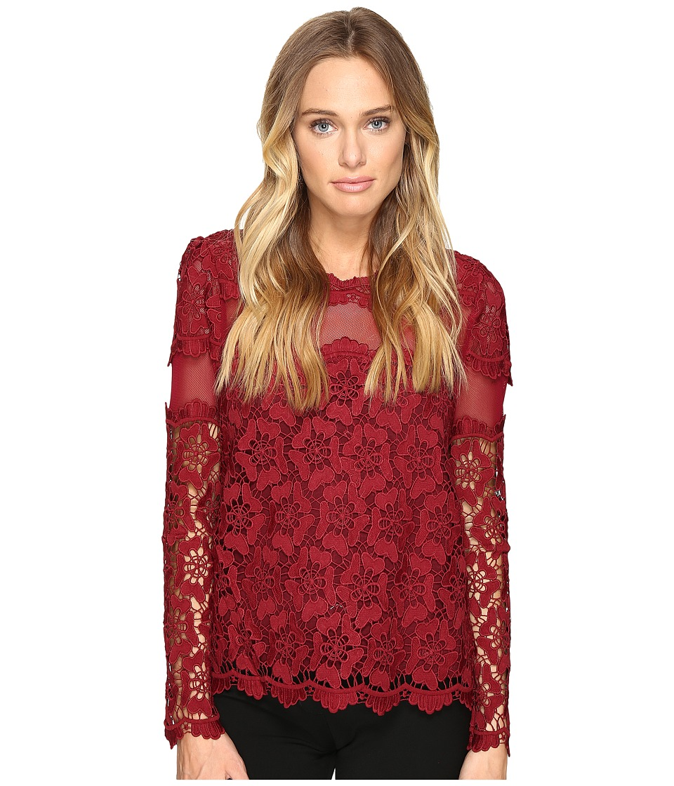 ROMEO & JULIET COUTURE - Long Sleeve Lace Top (Burgundy) Women's Clothing