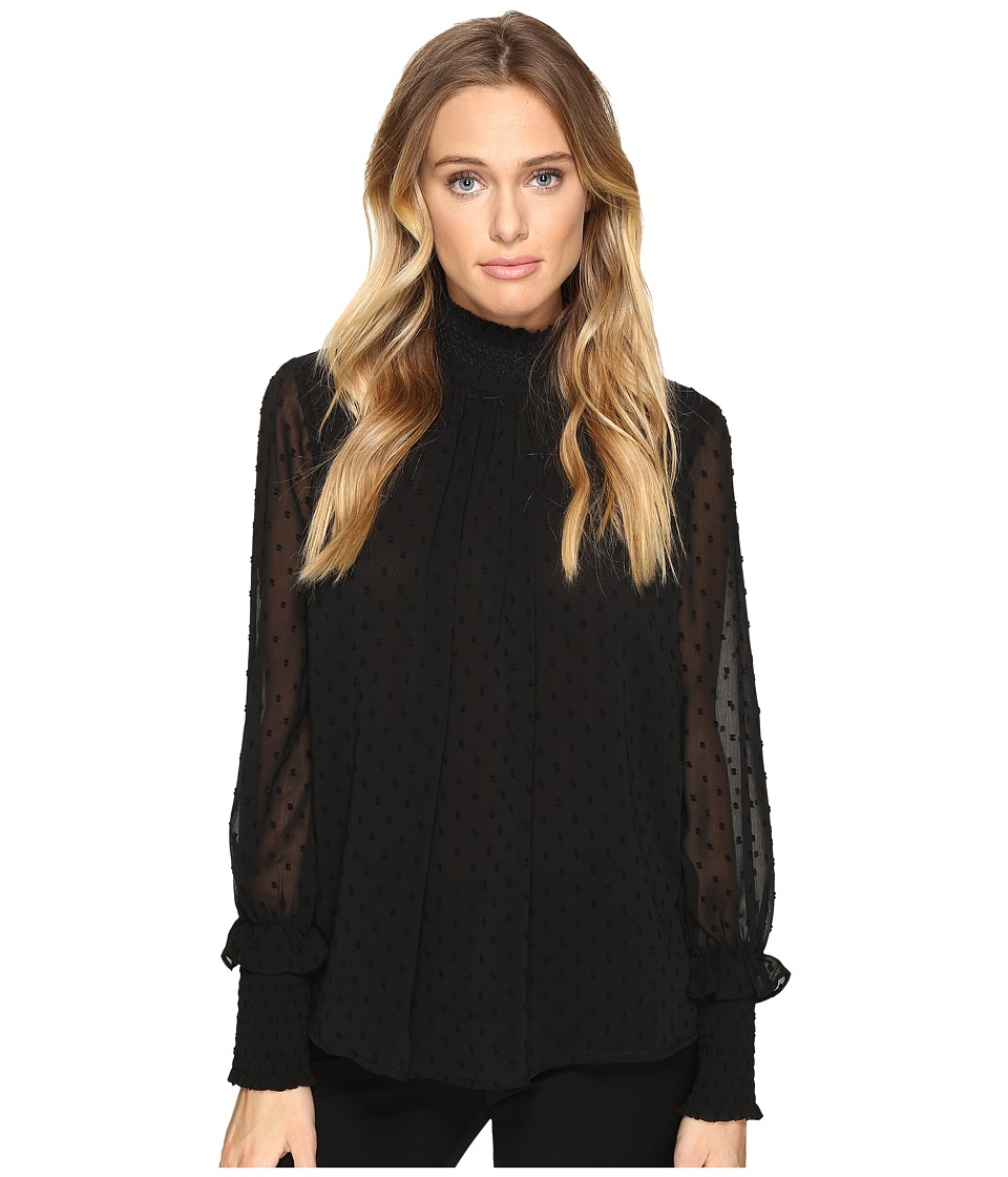 ROMEO & JULIET COUTURE - Textured Sheer Blouse (Black) Women's Blouse