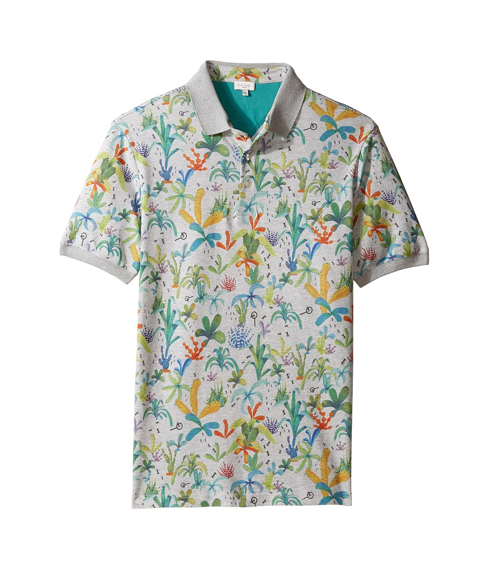 Paul Smith Junior - Short Sleeve Plam Trees Polo (Big Kids) (Grey Marl) Boy's Short Sleeve Pullover