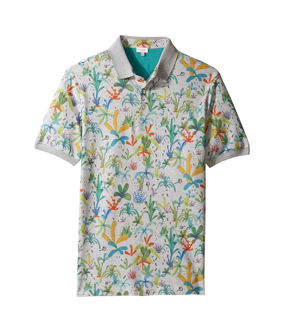 Paul Smith Junior - Short Sleeve Plam Trees Polo (Big Kids) (Grey Marl) Boy's Short Sleeve Pullover