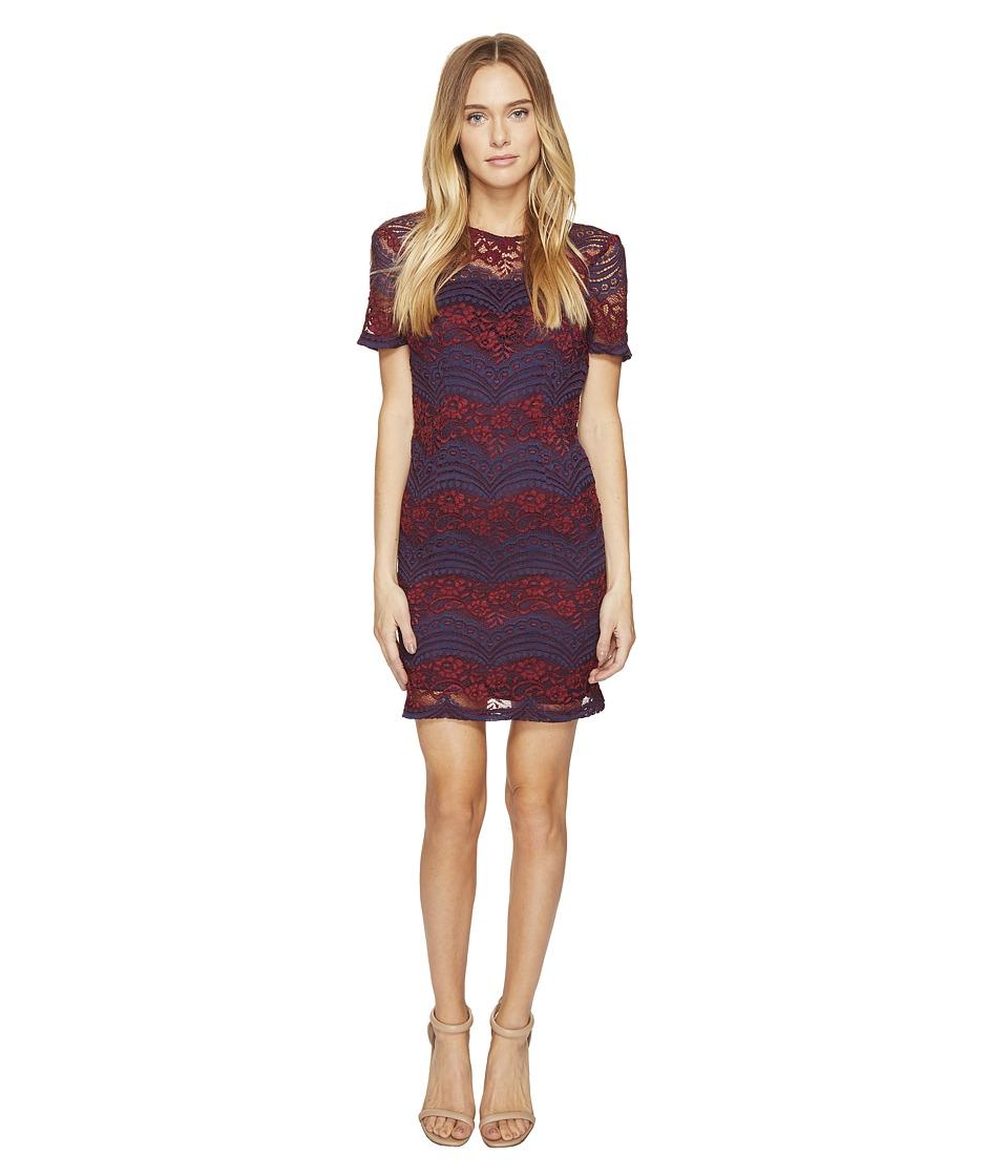 ROMEO & JULIET COUTURE Short Sleeve Sheer Lace Dress (Burgundy Blue) Women