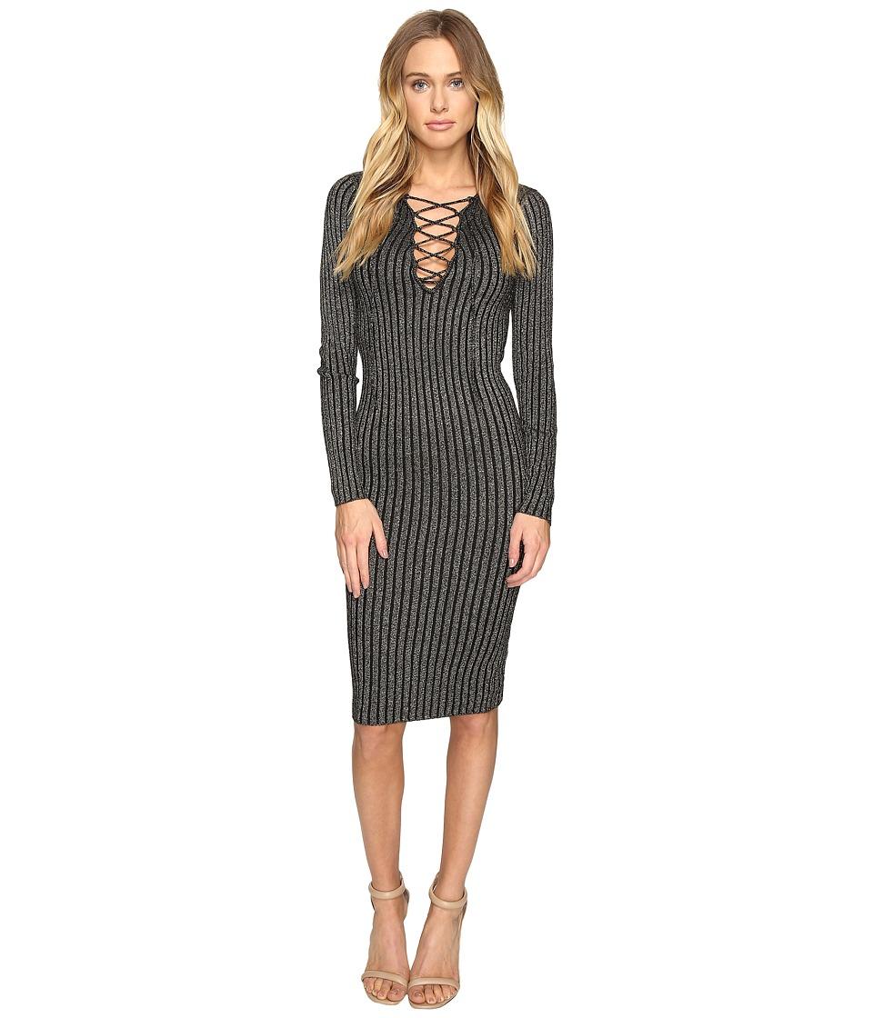 ROMEO & JULIET COUTURE - Long Sleeve Metallic Knit Dress (Black Silver) Women's Dress