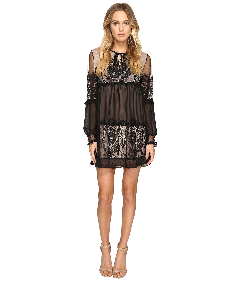 ROMEO & JULIET COUTURE - Sheer Woven Lace Ladies Dress (Black) Women's Dress