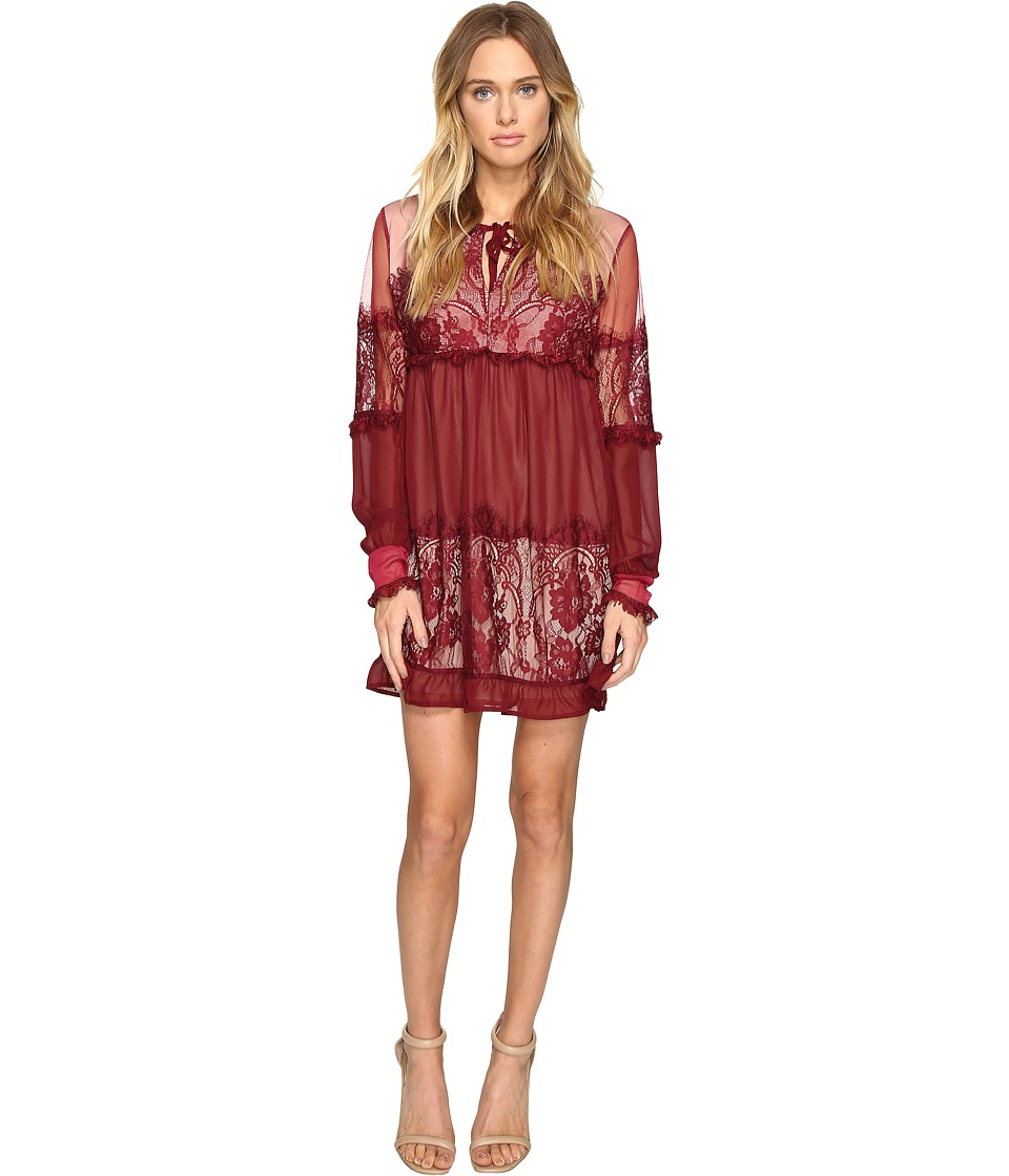 ROMEO & JULIET COUTURE - Sheer Woven Lace Ladies Dress (Burgundy) Women's Dress