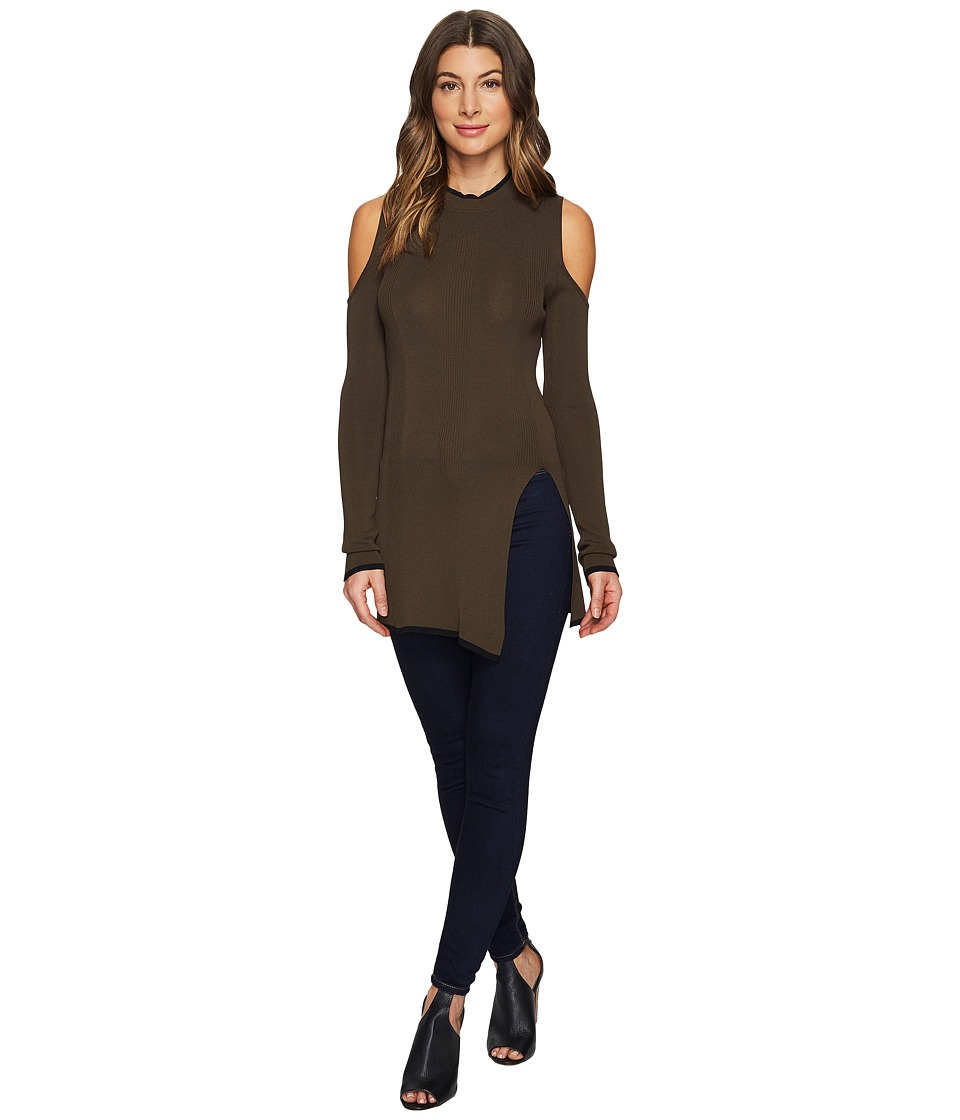 ROMEO & JULIET COUTURE - Cold Shoulder Front Slit Knit Top (Olive) Women's Clothing