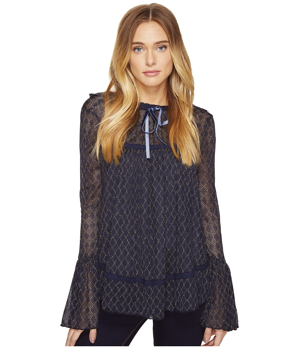 ROMEO & JULIET COUTURE - Long Sleeve Sheer Lace Top (Navy) Women's Clothing
