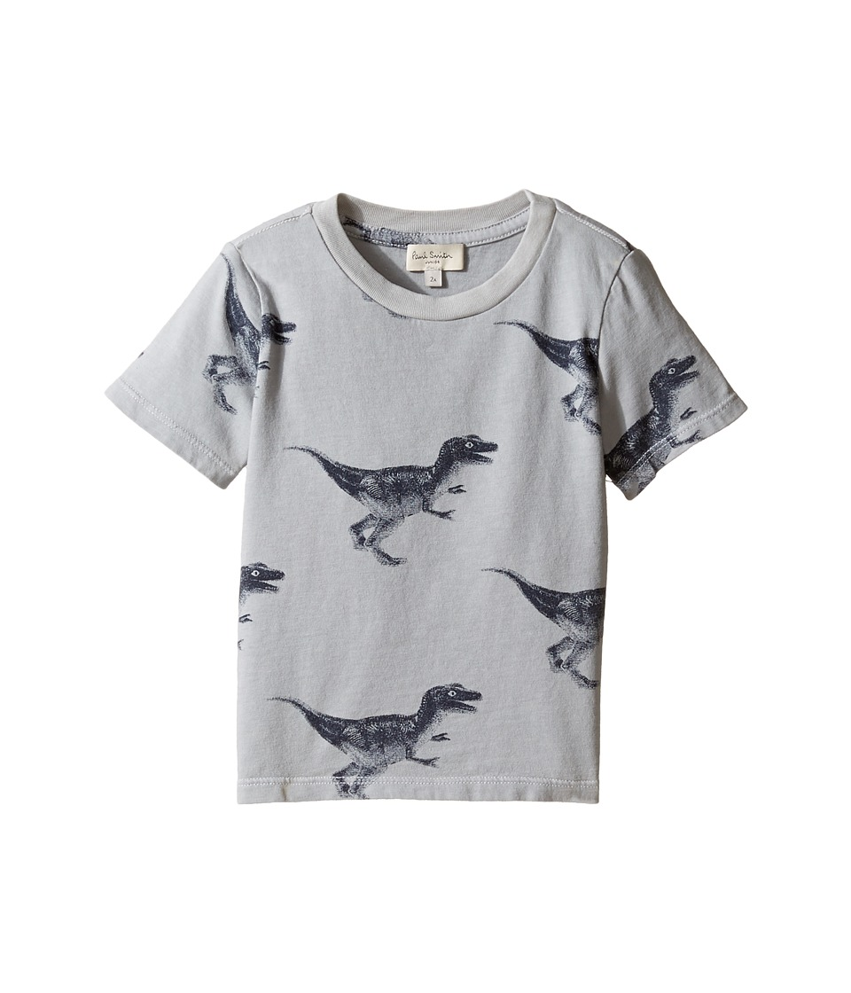 Paul Smith Junior - Short Sleeve Dinosaur All Over Printed Tee (Toddler/Little Kids) (Light Grey) Boy's T Shirt