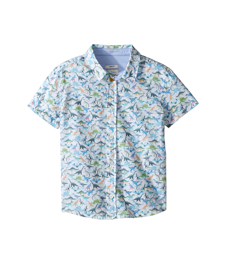 Paul Smith Junior - Short Sleeve Dinosaur All Over Printed Shirt (Toddler/Little Kids) (White) Boy's T Shirt
