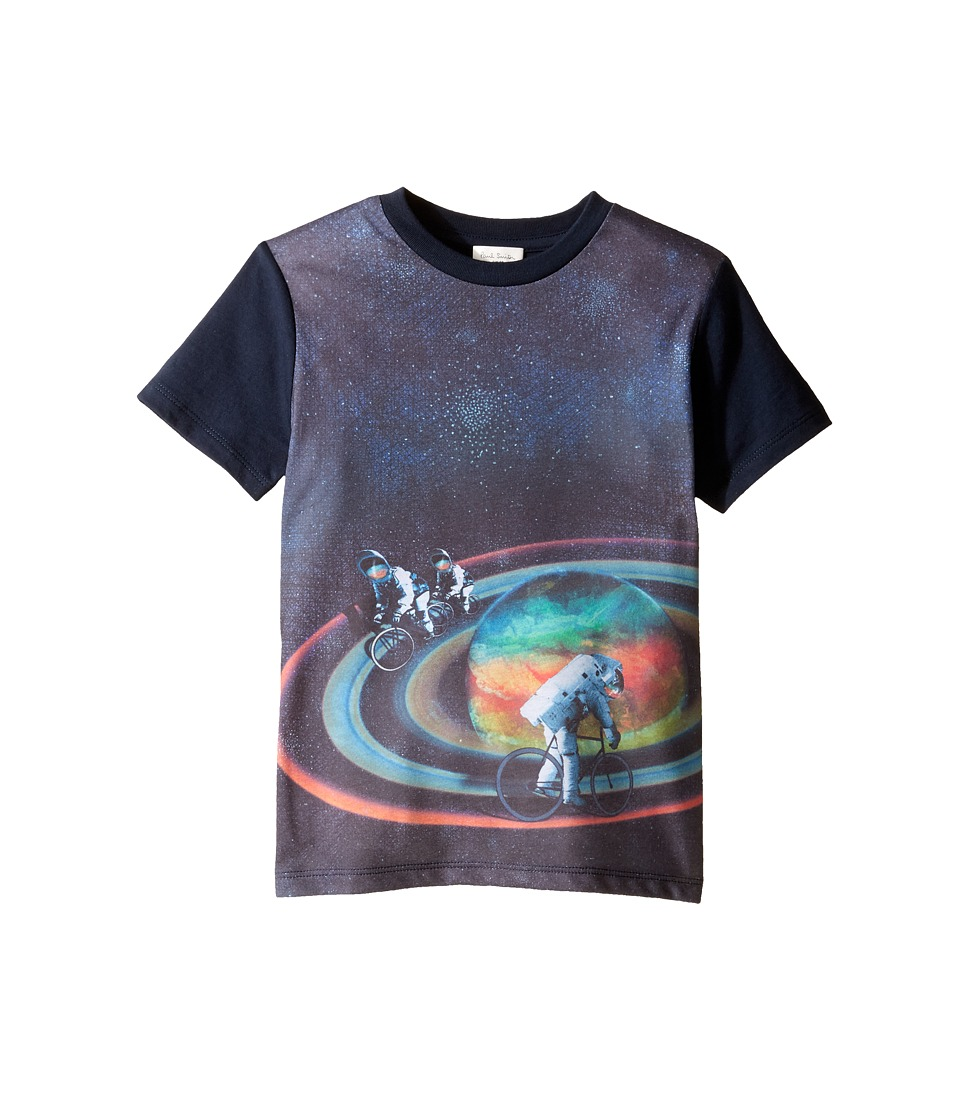 Paul Smith Junior - Short Sleeve All Over Planet Tee (Toddler/Little Kids) (Navy) Boy's T Shirt