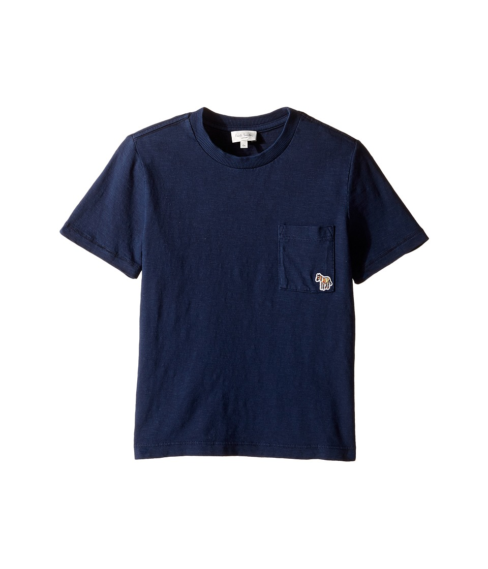 Paul Smith Junior - Short Sleeve Plain Tee with Pocket (Toddler/Little Kids) (Navy) Boy's T Shirt