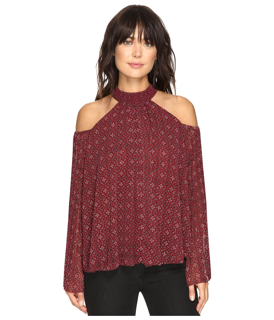 ROMEO & JULIET COUTURE - Cold Shoulder Printed Shirt (Burgundy) Women's Clothing