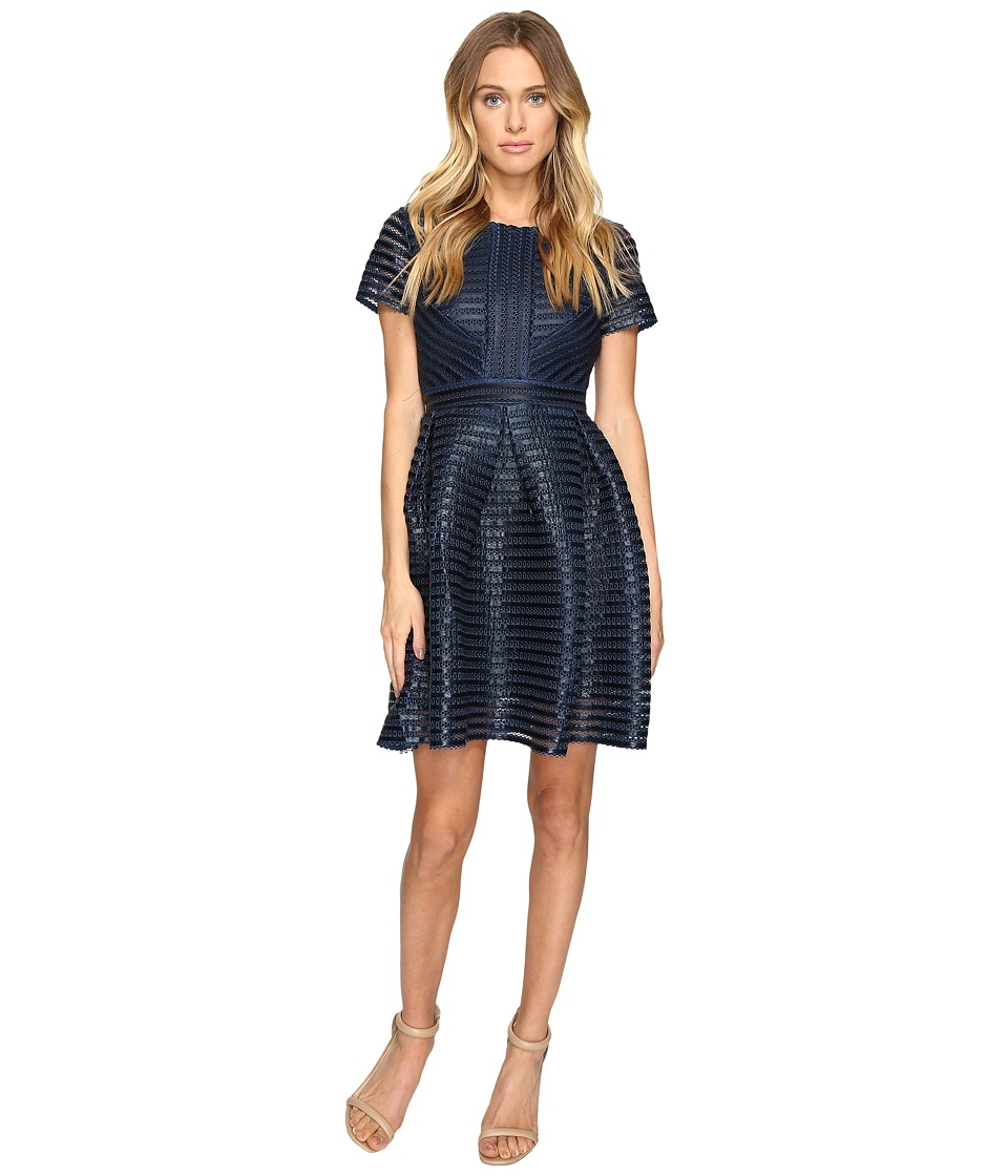 ROMEO & JULIET COUTURE - Striped Mesh Dress (Navy) Women's Dress