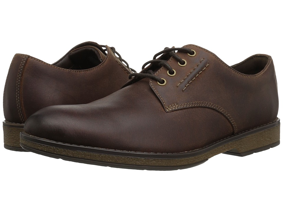 Clarks - Hinman Plain (Mahogany Leather) Men's Shoes