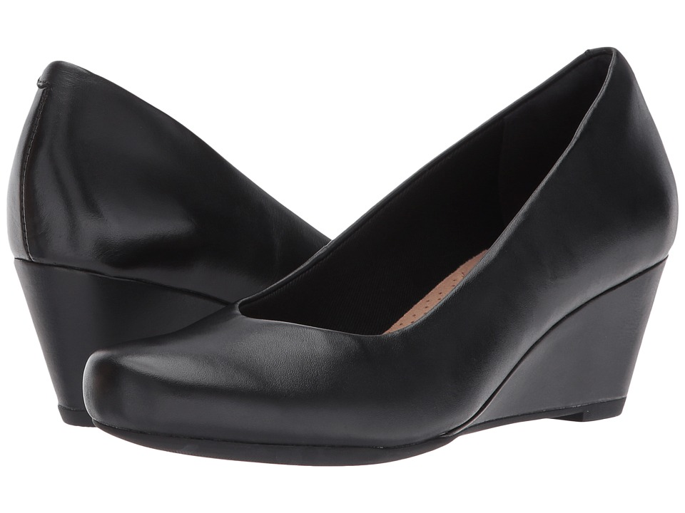 Clarks - Flores Tulip (Black Leather) Women's Shoes